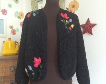 Clearance Vintage Wool Cardigan Embellished Embroidered Flowers, British Vogue