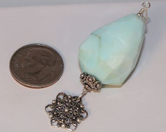 Blue Opal Necklace Pendant Faceted Peruvian Baby Blue Sterling Silver Flower Mandala Charm Bail Shimmer Shimmer October Birthstone