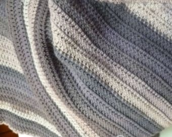Gray Striped Shawl