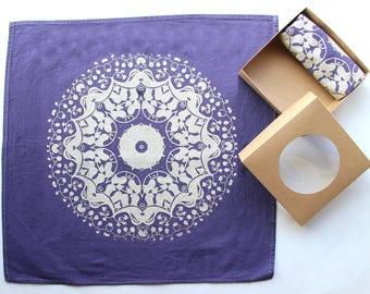 Mandala Hand Printed Cloth Napkins - Eggplant and Gold - Reusable Cloth Napkins - Purple and Gold Kitchen Decor - Thanksgiving Cloth Napkins