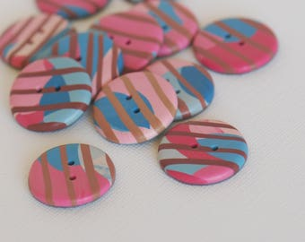 25 mm striped multicolored handmade Buttons, Set of 12, Blue pink red brown colors