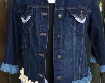 Upcycled ladies xlarge jean jacket with vintage lace and crochet