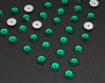 36 pcs vintage crystal sequin beads, Swarovski flat backs emerald art 3000 6mm