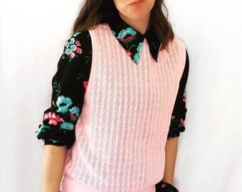 Pink sweater vest | Etsy