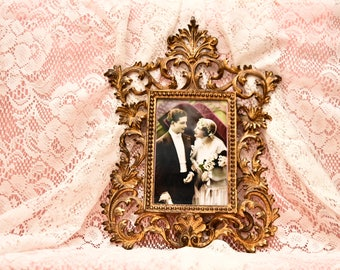 Elegant Vintage Rococo Brass-Plated Table Top Easel Photo Frame