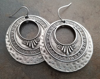 Antique Silver Decorative Earrings