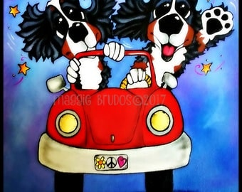 bernese mountain dog berner vw bug love peace daisy midnight car ride  whimsical dog art  maggie brudos painting Original whimsical DOG art