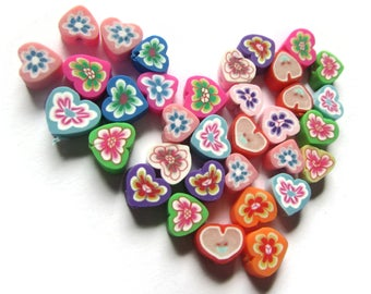 35 Clay Heart Beads Polymer Clay Beads Mixed Beads Multicolor Beads Floral Heart Beads Small Loose Beads Love Heart Beads Jewelry Making