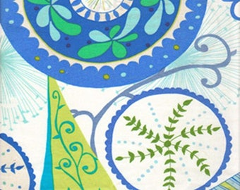 Ingrid in Cobalt Blue ~ WRENLY collection by Valori Wells for Free Spirit vw32-cobalt Blue Green White Large Floral ~ By the Half Yard