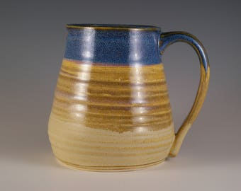Pottery Mug, Stoneware Mug, Coffee Cup, Tea Cup, Mug in  Blue and Tan