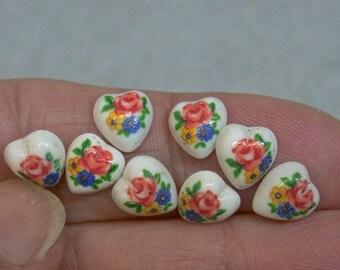 Vintage TENSHA HEART Cabochons Japanese PORCELAIN Pink Yellow Blue Flowers 8mm pkg8 por218