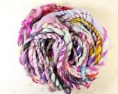 pot luck ... yarn, wool yarn, handspun yarn, hand spun yarn, rainbow yarn, 2ply candy cane yarn, bulky wool yarn,