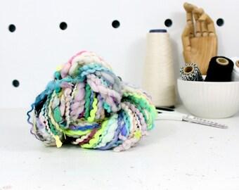 chickadee    .. hand spun yarn, art yarn, handspun art yarn, wool yarn, boucle yarn, bulky yarn, handspun wool yarn