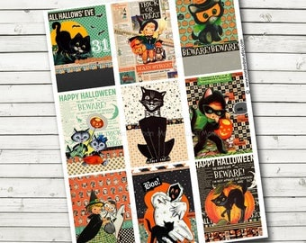 Vintage Halloween Pocket Letter Collage Sheet - Ready to Print - October Afternoon - Retro Halloween ATC - Instant Download - Cute Cats