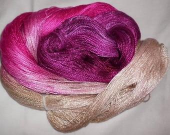 Hand dyed Tencel Yarn - 4/2 Tencel Lace Wt. Yarn  POLLY - 420 yards