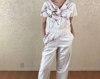 Vintage hand painted silk linen jumpsuit