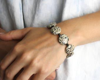 Dalmatian Bracelet . Black and White Bracelet . Dalmatian Jasper Bracelet . Stones for Protection Bracelet - Adriatic Collection NEW