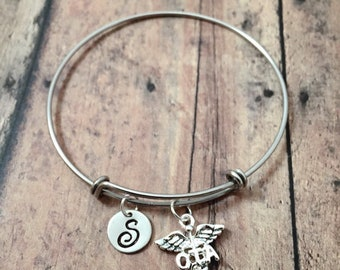 Occupational therapy assistant initial bangle - OTA jewelry, caduceus bracelet, OTA bracelet, gift for occupational therapy assistant