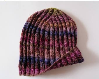 First Fall Sale - 15% Off Knitted Hat - Men's Hand Knit Beanie Hat in Winter Sunrise - Luxe Fiber Lightweight Knit Hat in Multicolor Stripes