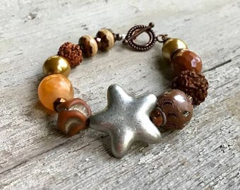 Silver Star Boho Beaded  Brown  Orange  Textured Bracelet for her Under 100 Free US Shipping and Gift Wrap