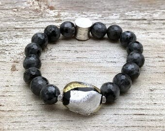 Metallic Murano Glass Larvikite Silver Minimalist Beaded Bracelet  For Her Under 150 Free US Shipping and Gift Wrap