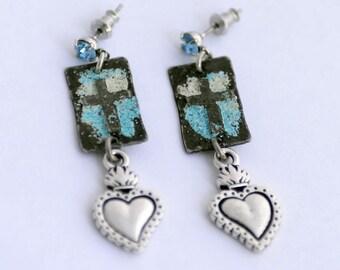 Artisan Cross Earrings, Milagro Heart Charm Earrings, Blue and Silver Earrings, Baptism Gift, Faith, Religious Gift, Aquamarine Birthstone