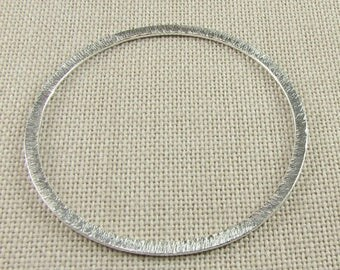 SHOP SALE 46mm Flat Circle Shaped Bali Sterling Silver Brushed Line Texture Loop Round Connector Eternity Rings Links (2 beads)