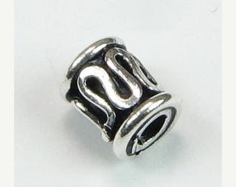 SHOP SALE Bali Sterling Silver Tube Beads with Swirly Lines, Antiqued 6mm Decorative Tube Beads (2 Beads)