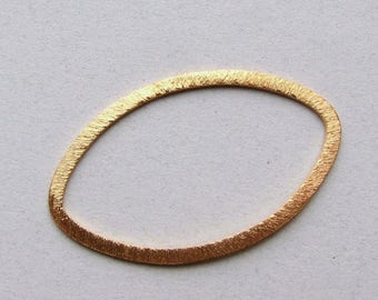 SHOP SALE 26mm Large Oval Shaped Bali Bright 24k Gold Vermeil Brushed Line Texture Loop Connector Eternity Rings Links (2 beads)