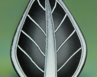 Black and Silver Polymer Clay Leaf Cane -'Nevermore' (13A)