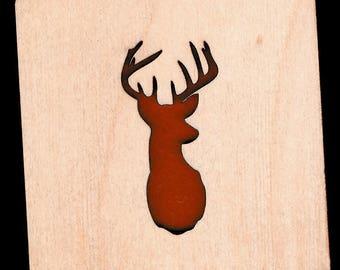 4 Buck Deer Coasters wooden laser cut natural eco-friendly Waterproof plywood birch and Felt