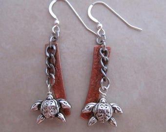 under the sea turtle earrings copper sterling silver