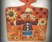 Fall Scarecrow-Sunflowers-Pumpkins-Wood Plaque Home Decor Decoration-Hand Painted