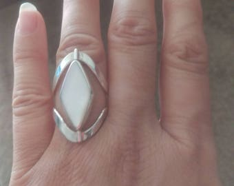 2 Sided Swivel Sterling SIlver Ring Mother of Pearl and Turquoise Howlite Stones two rings in one