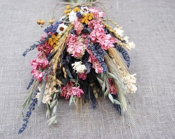 Warm Summer Wildflower Pink and Yellow Wedding  Bridesmaids Bouquets of  Lavender Larkspur Dried Flowers