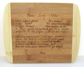 Handwriting Cutting Board Engraved with Your Handwriting - Personalized Bamboo Cutting Board - Your Recipe Engraved