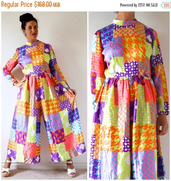 SUMMER SALE/ 30% off Vintage 60s 70s Dayglo Psychedelic Patchwork Wide Legged Palazzo Print Jumpsuit (size medium, large)