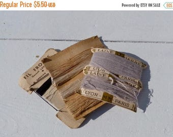 ON SALE Vintage Antique 1900/1930 French cotton/wool threads on cardboard