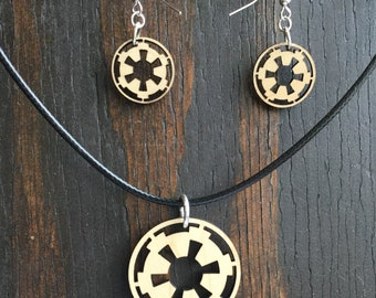Star Wars Empire inspired cutout wood pendant necklace and earring set