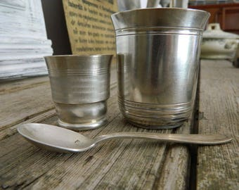 Vintage  baby Egg Cup  and its spoon and a baby cup -  Baby eggcup in silver plate and its spoon. Baby cup in silver plate
