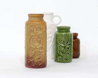Large Beige SCHEURICH keramik vase, decor Jura, West Germany vase, German Pottery, Mid Century Modern Home Decor