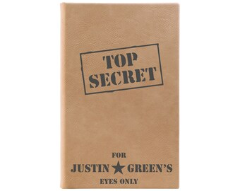 Top Secret Journal, Kids Journal, Leather Journal, Personalized Journal, Kids Notebook, Writing Journal, Boys Notebook --28357-LJ05-109