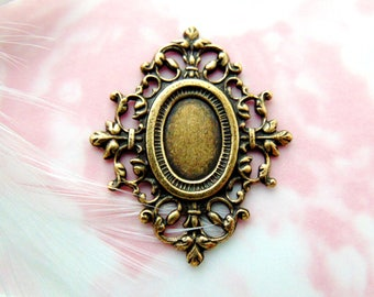 ANTIQUE BRASS * Cameo Cabochon Oval 13mm x 8mm Frame Setting Stamping ~ Jewelry Finding ~ Brass Stamping (CB-3034 B)