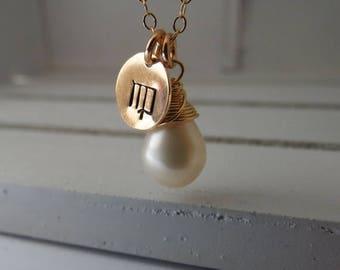 ON SALE Gemstone Zodiac Necklace,Zodiac Sign Necklace,Personalized Zodiac Necklace,Bridesmaid Necklace,Personalized Gift,Jewelry Gift Gold o