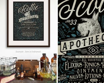 Scottie Scottish Terrier dog apothecary Company vintage style unframed artwork by Stephen Fowler Signed Print