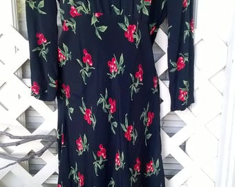 Carol Little 80s does 30s Cherries Print Rayon Dress sz 6, Black and Red, Long Sleeve, Cute