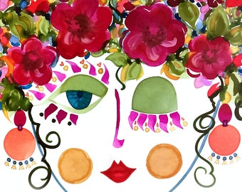 Meet Camellia! - Gypsy Garden Girl - Carmen Miranda Inspired Face - Print from Original Watercolor Painting by Suzanne MacCrone Rogers