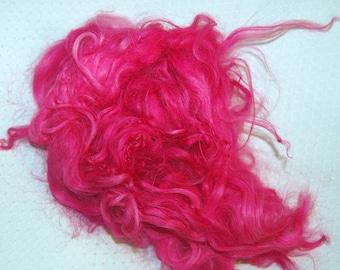 Karakul Sheep Wool Locks for Spinning Felting and Doll Hair, Doll Wig, Troll Hair, Hand Dyed shades of Hot Pink 1 oz.
