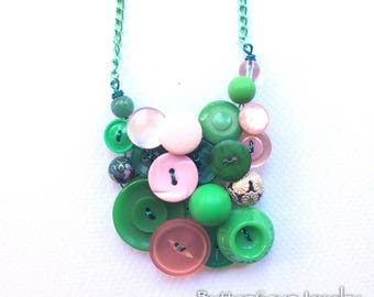 Funky Button Jewelry Necklace in Bright Green with Pale Pink