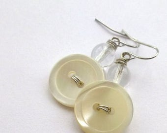 BUTTON JEWELRY SALE Pearl White Vintage Button Earrings with clear beads